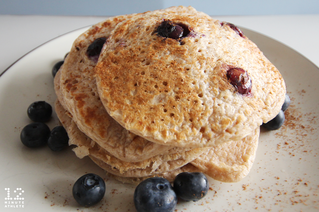 High protein 5 ingredient blueberry pancakes