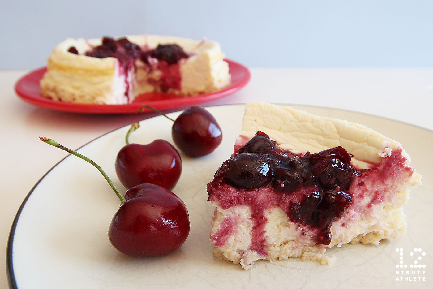 Cherry Protein Cheesecake With Coconut Crust